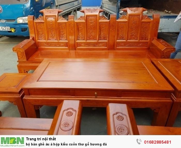 Bộ bàn ghế Âu Á hộp kiểu cuốn thư gỗ hương đá22