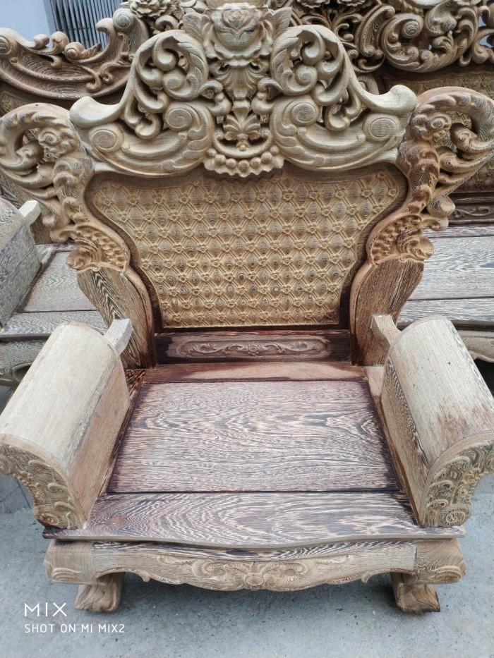 Bộ bàn ghế đồng kỵ kiểu hoàng gia gỗ mun đuôi công10