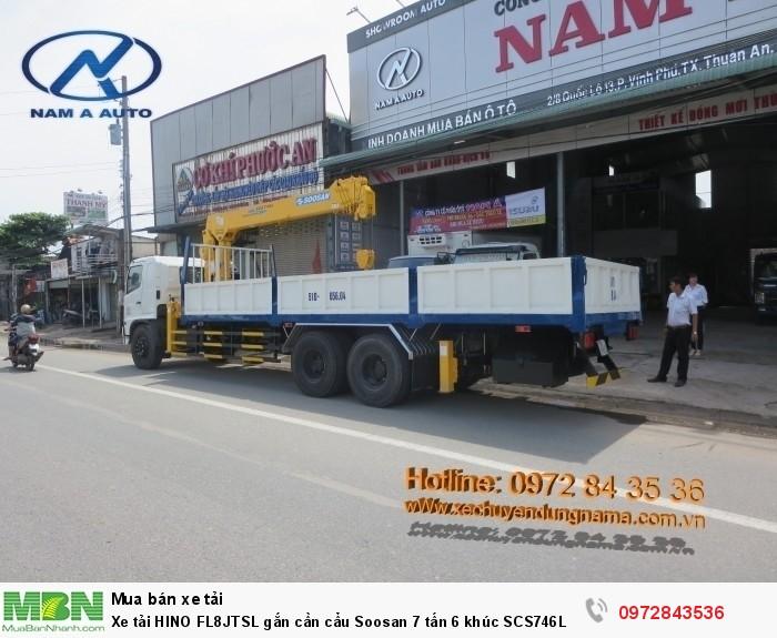 Xe tải HINO FL8JTSL gắn cần cẩu Soosan 7 tấn 6 khúc SCS746L