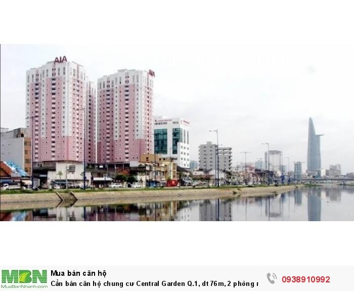 Cần bán căn hộ chung cư Central Garden Q.1,  dt 76m, 2 phòng ngủ, giá 2.8 tỷ,bảo vệ 24/24