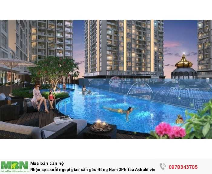 Nhận cọc suất ngoại giao căn góc Đông Nam 3PN tòa Ashahi view bể bơi, sông Hồng dự án Hinode City