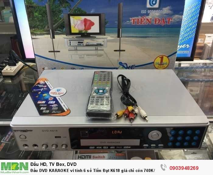 Đầu DVD KARAOKE 6 số Tiến Đạt K618 Trọn bộ gồm có: Đầu karaoke 6 số Tiến Đạt K618, remote, 2 pin 3A, dây AV, Disk karaoke Vol 46, list nhạc karaoke