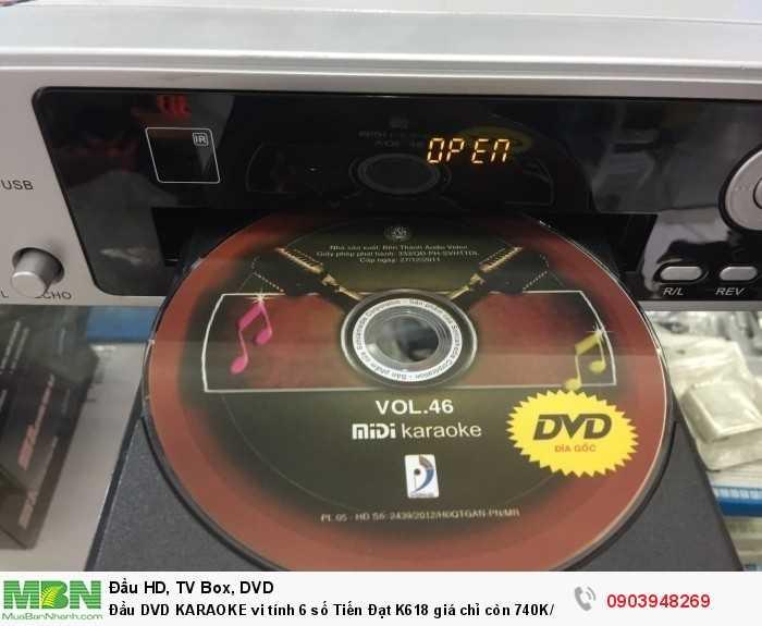 Đầu DVD KARAOKE 6 số Tiến Đạt K618 Đọc được Disk, USB Định dạng; MIDI KARAOKE, DVD, SVCD, VCD, dvix VIDEO, CD, MP3. v.v..