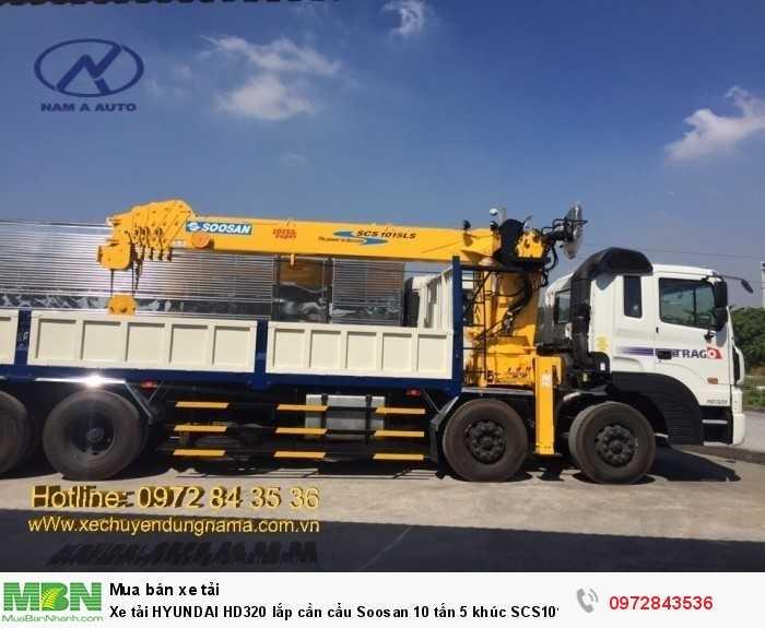 Xe tải HYUNDAI HD320 lắp cần cẩu Soosan 10 tấn 5 khúc SCS1015LS