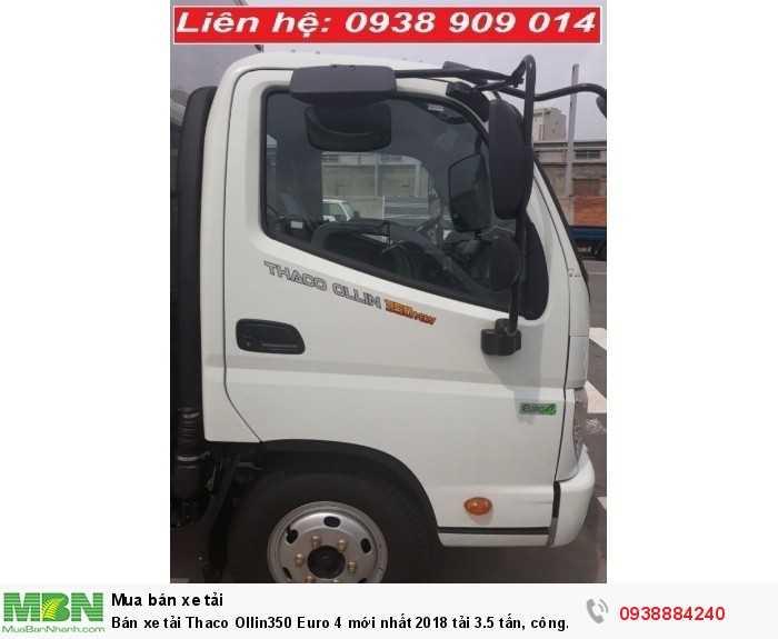 Bán xe tải Thaco Ollin350 Euro 4 mới nhất 2018 tải 3.5 tấn, công nghệ Isuzu thùng 4.3 m tại Tiền Giang, Long An, Bến Tre