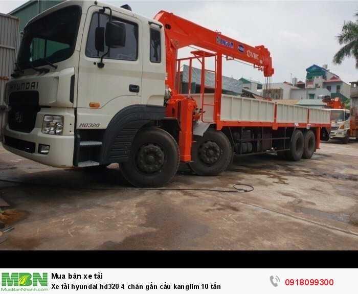 Xe tải hyundai hd320 4 chân gắn cẩu kanglim 10 tấn