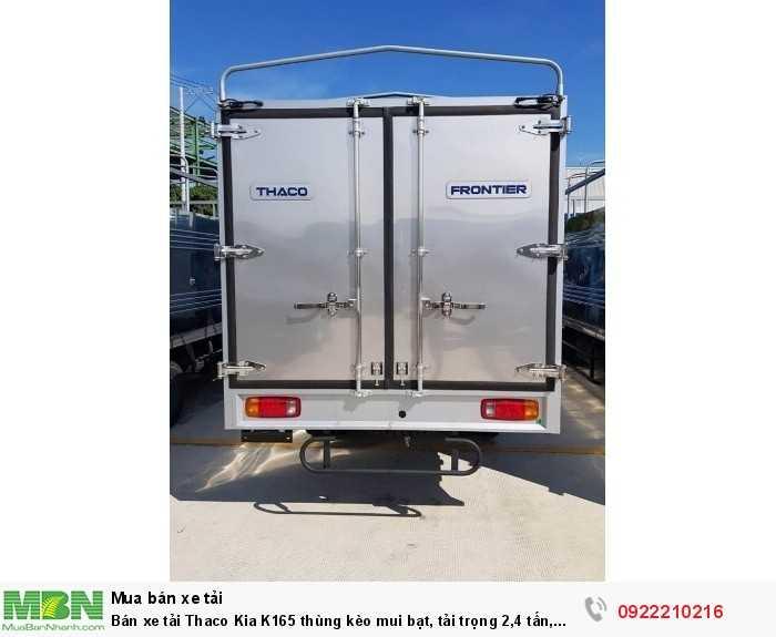 Bán xe tải Thaco Kia K165 thùng kèo mui bạt, tải trọng 2,4 tấn, xe mới 100%. Hỗ trợ vay trả góp.