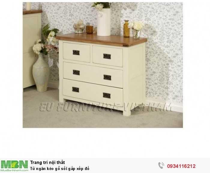 Tủ ngăn kéo gỗ sồi Mỹ sơn màu trắng Sử dụng để đồ gấp xếp quần áo em bé   Thiết kế độc đáo với màu sơn phủ bên dưới là trắng kem, bên trên là màu gỗ tự nhiên.  sản phẩm đã được tẩm xấy và xử lý mối mọt, sơn không chì, không độc hại1