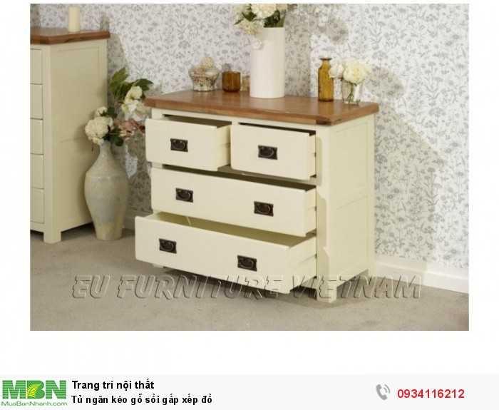 Tủ ngăn kéo gỗ sồi Mỹ sơn màu trắng Sử dụng để đồ gấp xếp quần áo em bé0
