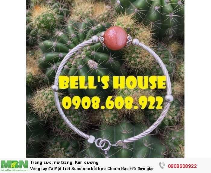 Vòng tay đá Mặt Trời Sunstone kết hợp Charm Bạc 925 đơn giản, vòng tay đá thiên nhiên Bells House TPHCM,1