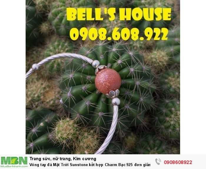 Vòng tay đá Mặt Trời Sunstone kết hợp Charm Bạc 925 đơn giản, vòng tay đá thiên nhiên Bells House TPHCM,2