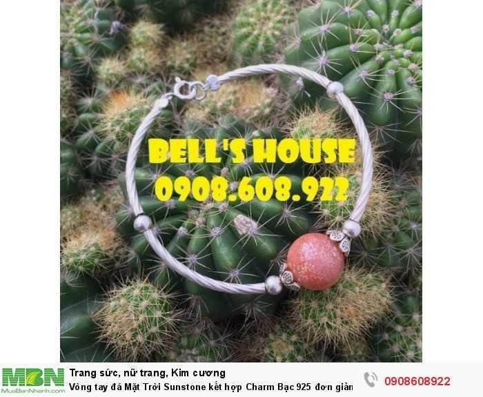 Vòng tay đá Mặt Trời Sunstone kết hợp Charm Bạc 925 đơn giản, vòng tay đá thiên nhiên Bells House TPHCM,3