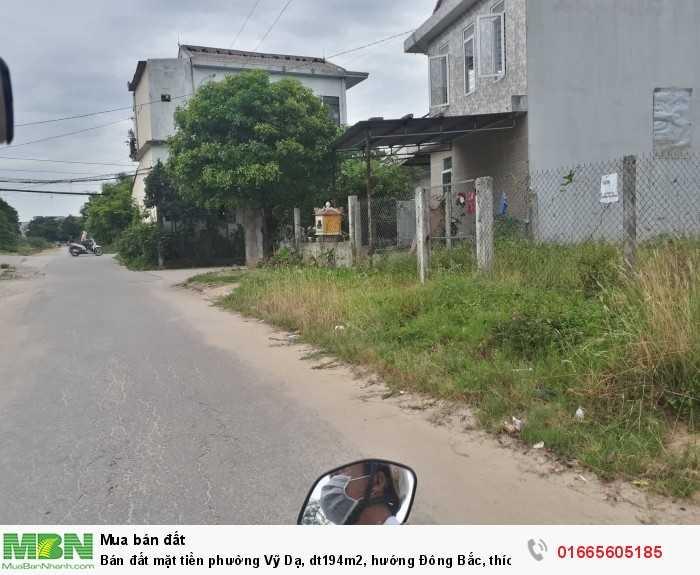 Bán đất mặt tiền phường Vỹ Dạ, dt194m2, hướng Đông Bắc, thích hợp xây dựng nhà ở hay kinh doanh