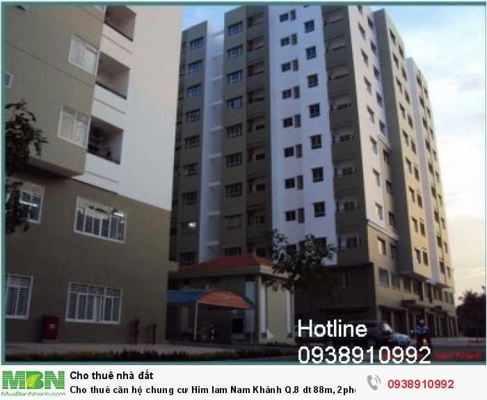 Cho thuê căn hộ chung cư Him lam Nam Khánh Q.8 dt 88m, 2phòng ngủ, 9.5tr/th