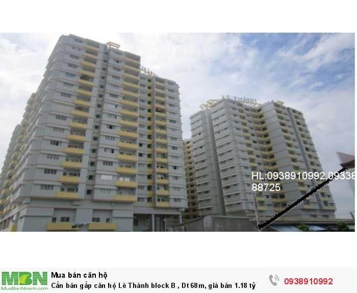 Cần bán gấp căn hộ Lê Thành block B , Dt 68m