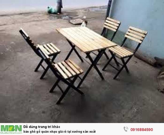 Bàn ghế gỗ quán nhạu giá rẻ tại xưởng sản xuất0