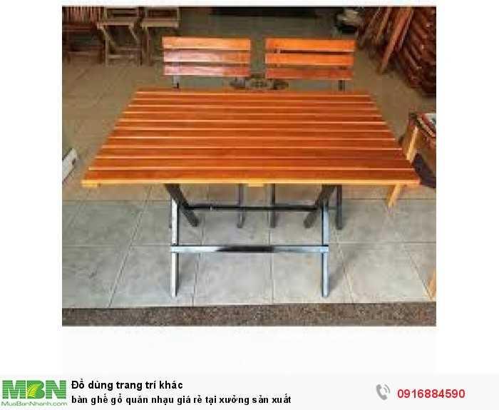 Bàn ghế gỗ quán nhạu giá rẻ tại xưởng sản xuất3