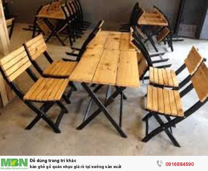 Bàn ghế gỗ quán nhạu giá rẻ tại xưởng sản xuất4