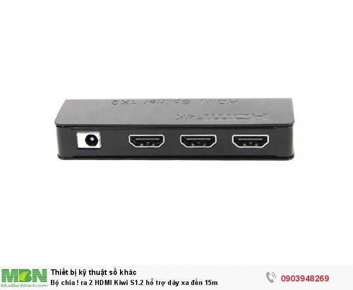 Bộ chia ! ra 2 HDMI Kiwi S1.2 hỗ trợ kéo dây xa đến 15m