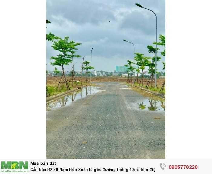 Cần bán B2.20 Nam Hòa Xuân lô góc đường thông 10m5 khu điện âm
