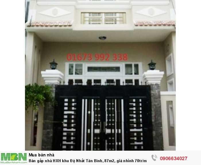 Bán gấp nhà HXH khu Đệ Nhất Tân Bình, 87m2, giá nhỉnh 70tr/m.