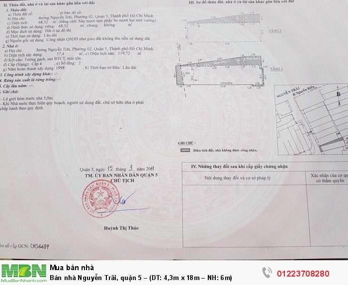 Bán nhà Nguyễn Trãi, quận 5 – (DT: 4,3m x 18m – NH: 6m)