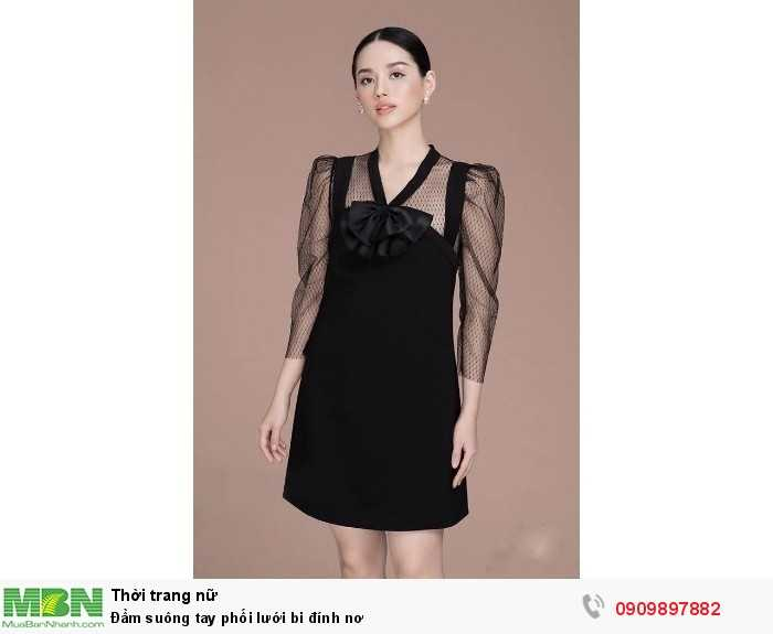 [1] Đầm suông tay phối lưới bi đính nơ