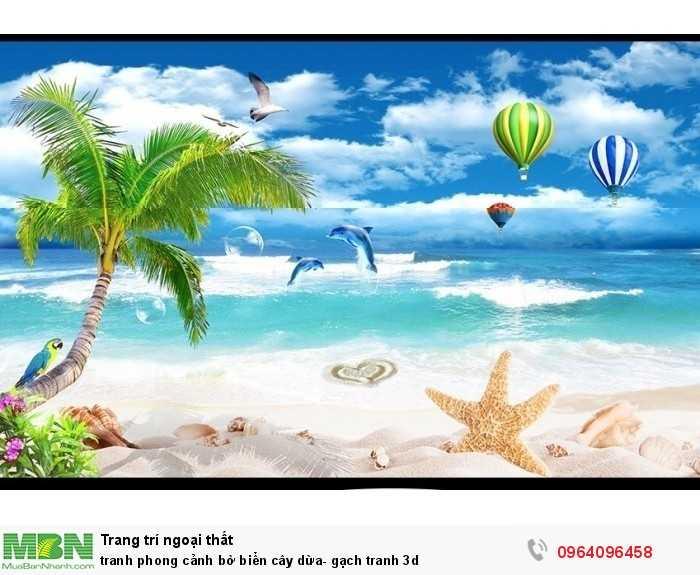tranh phong cảnh bờ biển cây dừa- gạch tranh 3d
