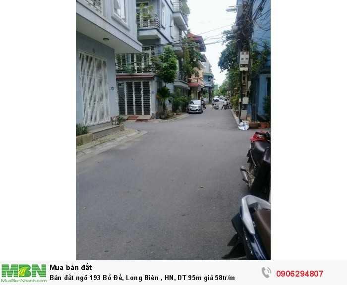 Bán đất ngõ 193 Bồ Đề, Long Biên , HN, DT 95m giá 58tr/m
