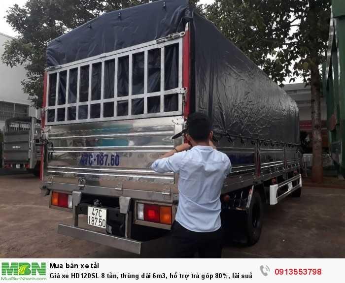 Giá xe HD120SL 8 tấn, thùng dài 6m3, hỗ trợ trả góp 80%, lãi suất ưu đãi toàn miền Trung