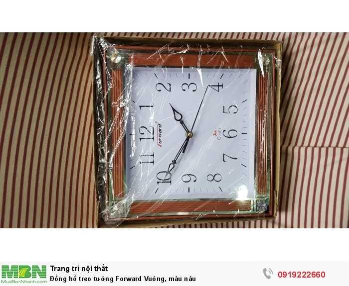 Đồng hồ treo tường Forward Vuông, màu nâu1