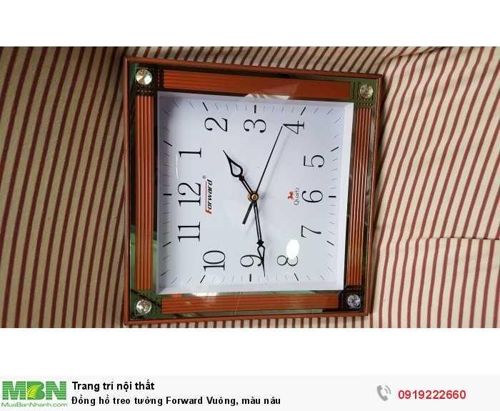 Đồng hồ treo tường Forward Vuông, màu nâu2