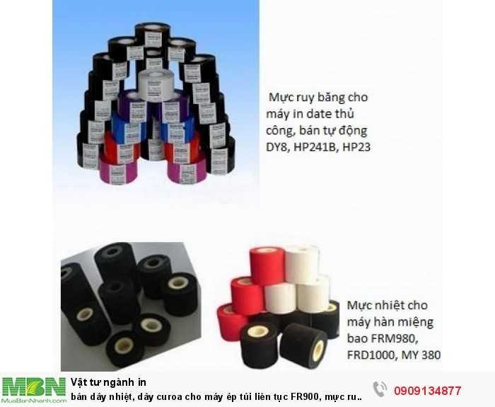 Dây curoa cho máy ép túi liên tục FR900, mực ru băng cho máy in date, mực nhiệt cho máy hàn FRM9800
