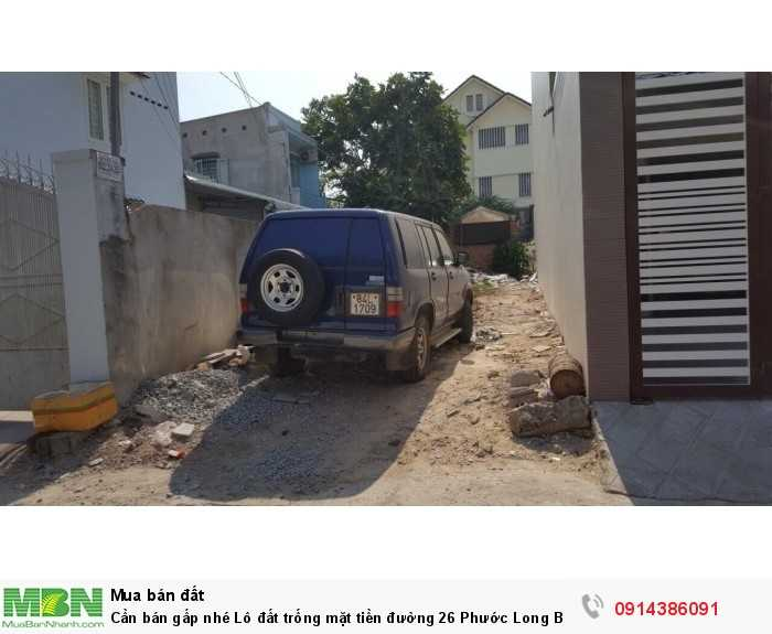 Cần bán gấp nhé Lô đất trống mặt tiền đường 26 Phước Long B, quận 9