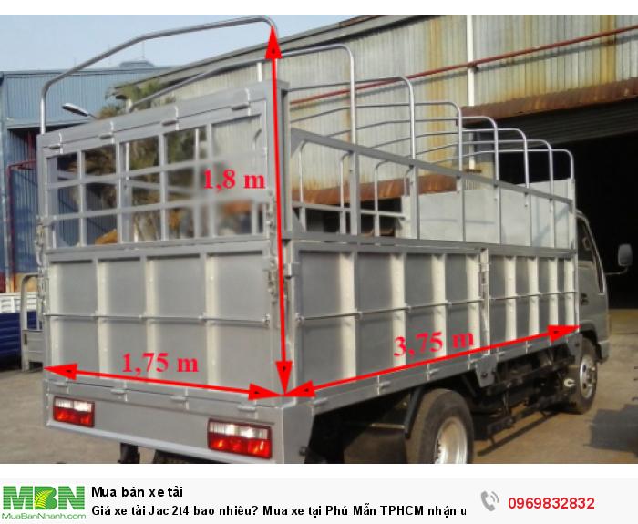 Kích thước lòng thùng xe tải Jac 2t4 nhỏ gọn, thích hợp di chuyển vào TP, đặc biệt là những khu vực nhỏ hẹp - Sở hữu xe ngay với giá ưu đãi gọi Mr Độ 0969 832 832 (24/24)