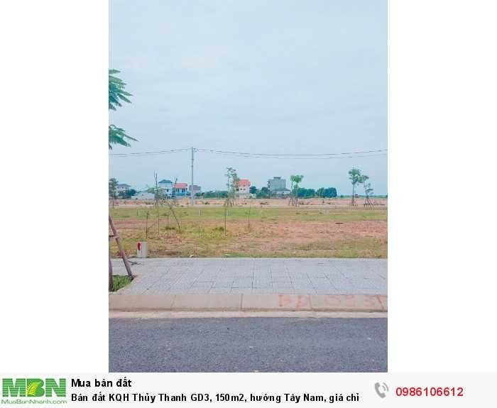 Bán đất KQH Thủy Thanh GD3, 150m2, hướng Tây Nam, giá chỉ 11,8 tr/m2.
