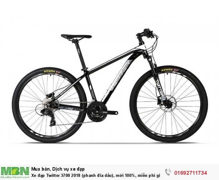 Xe đạp Twitter 3700 2018 (phanh đĩa dầu), mới 100%, miễn phí giao hàng, màu đen trắ...