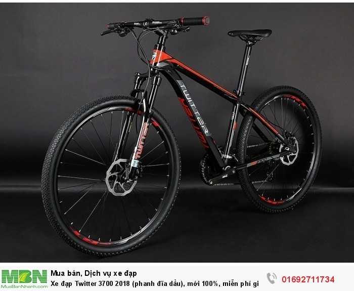 Xe đạp Twitter 3700 2018 (phanh đĩa dầu), mới 100%, miễn phí giao hàng, màu đen đỏ