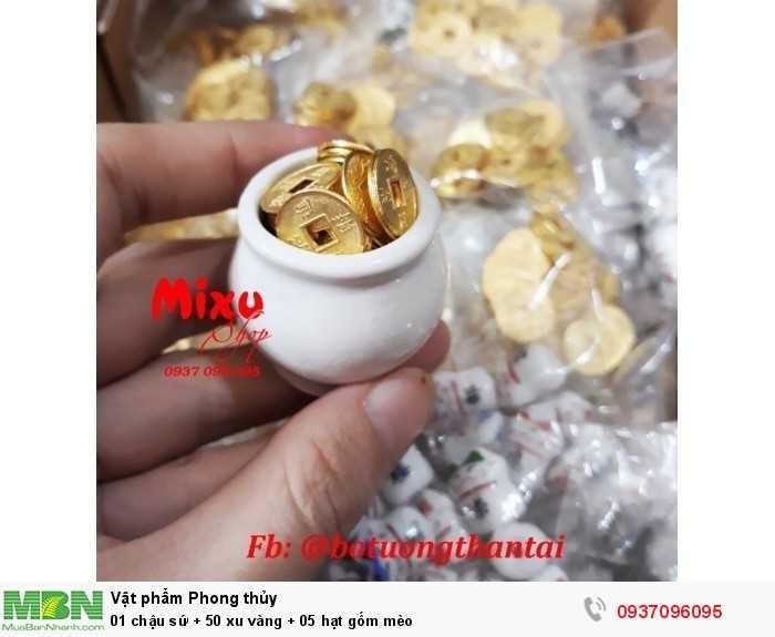 01 chậu sứ + 50 xu vàng + 05 hạt gốm mèo1