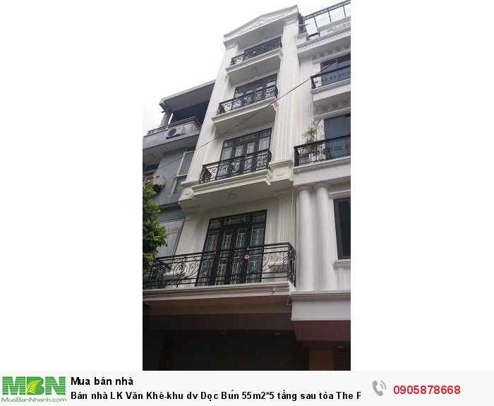 Bán nhà LK Văn Khê-khu dv Dọc Bún 55m2*5 tầng sau tòa The Pride full nội thất, gara ô tô, kinh doanh VP