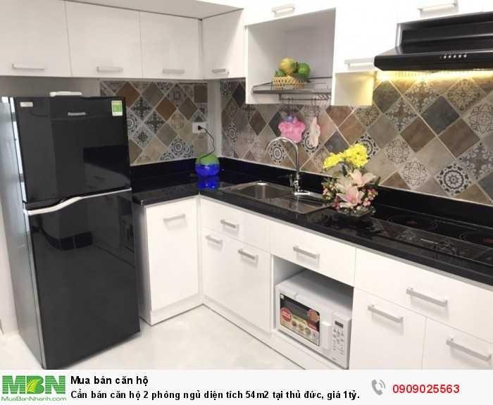 Cần bán căn hộ 2 phòng ngủ diện tích 54m2 tại thủ đức, giá 1tỷ.