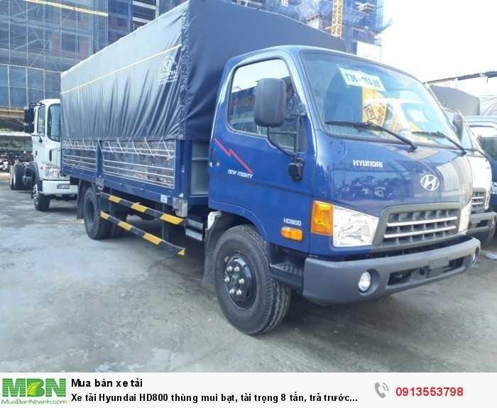 Khuyến mãi mua xe tải Hyundai HD800 thùng mui bạt, tải trọng 8 tấn, trả trước 150 triệu, giao xe ngay- Hotline: 0913553798 (24/24)