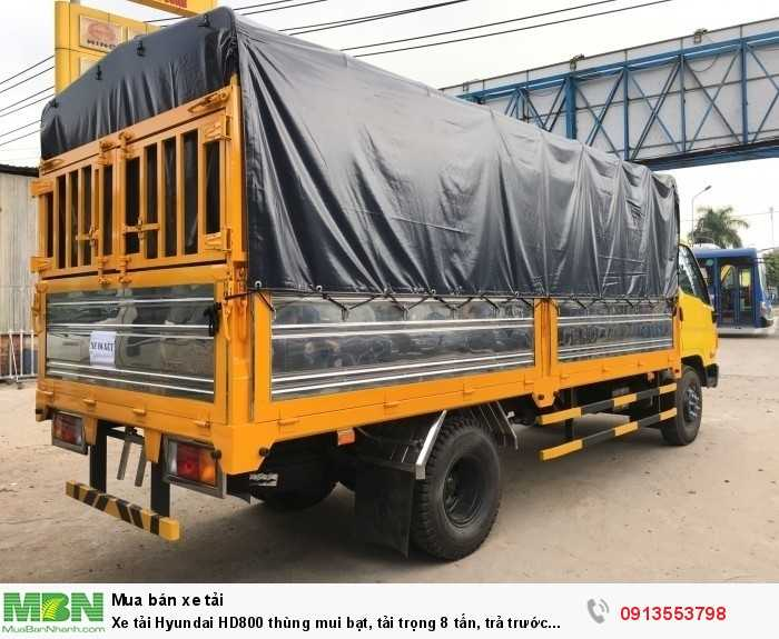 Xe tải Hyundai HD800 thùng mui bạt, tải trọng 8 tấn, trả trước 150 triệu, giao xe ngay
