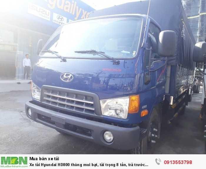 Xe tải Hyundai HD800 thùng mui bạt, tải trọng 8 tấn, trả trước 150 triệu, giao xe ngay- Hotline: 0913553798 (24/24)
