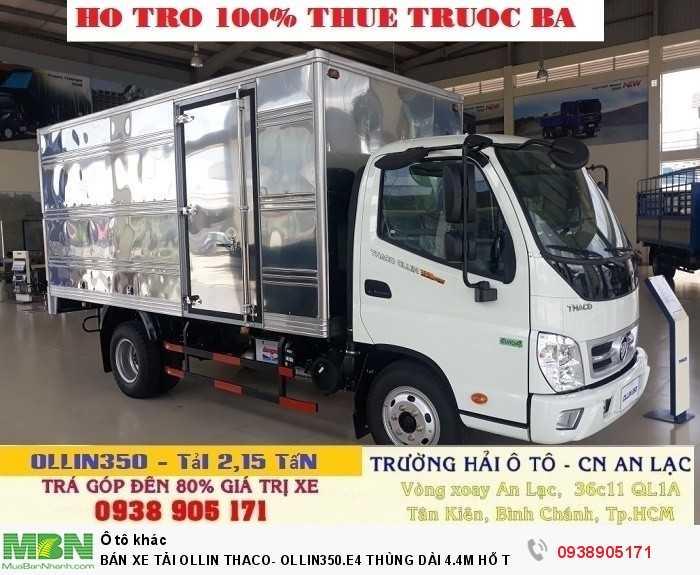 Bán Xe Tải Ollin Thaco- Ollin350.E4 Thùng Dài 4.4m Hỗ Trợ 100% Lệ Phí Trước Bạ Trong Tháng 3