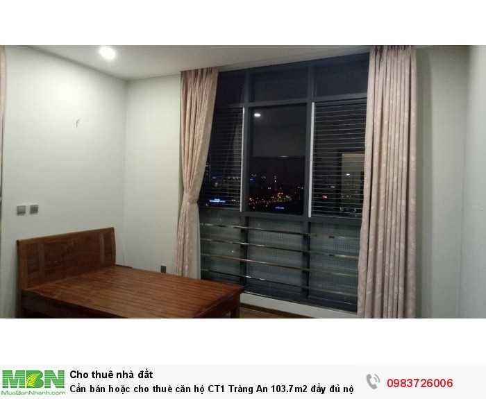Cần bán hoặc cho thuê căn hộ CT1 Tràng An 103.7m2 đầy đủ nội thất, sổ hồng chính chủ