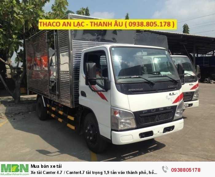 Xe tải Canter 4.7 / Canter4.7 tải trọng 1,9 tấn vào thành phố, hỗ trợ trả góp 80% giá trị xe, thủ tục đơn giản.