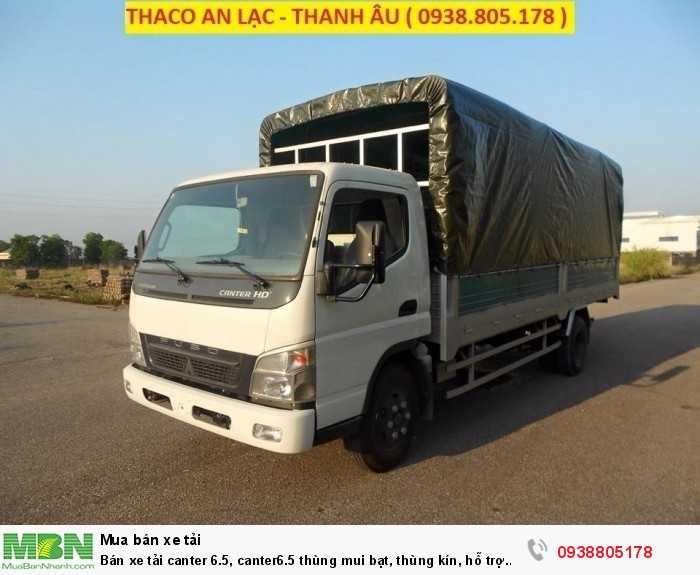 Bán xe tải Canter 6.5, Canter6.5 thùng mui bạt, thùng kín, hỗ trợ 80% giá trị xe, thủ tục duyệt nhanh. 0