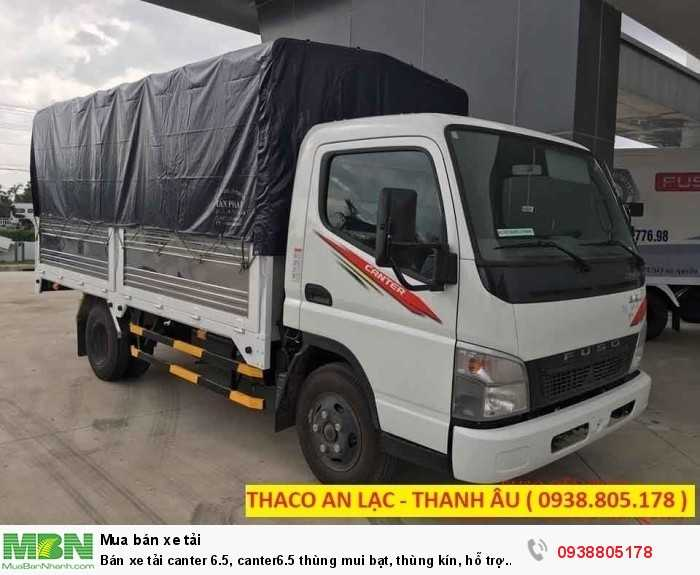 Bán xe tải Canter 6.5, Canter6.5 thùng mui bạt, thùng kín, hỗ trợ 80% giá trị xe, thủ tục duyệt nhanh.