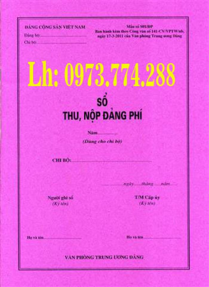Bán sách quyển sổ thu nộp đảng phí mẫu số S01/ĐP (Dùng cho chi bộ)